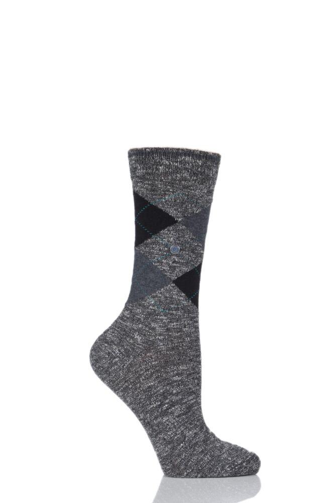 Ladies 1 Pair Burlington Avebury Cotton and Linen Blend Argyle Socks