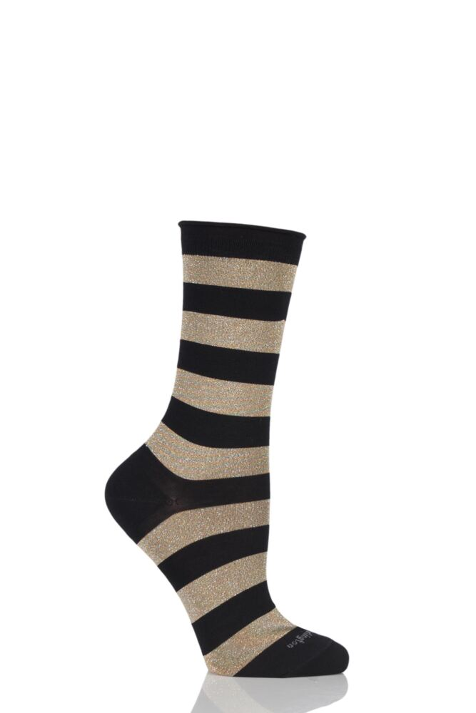 Ladies 1 Pair Burlington Shiny Stripe Cotton Socks