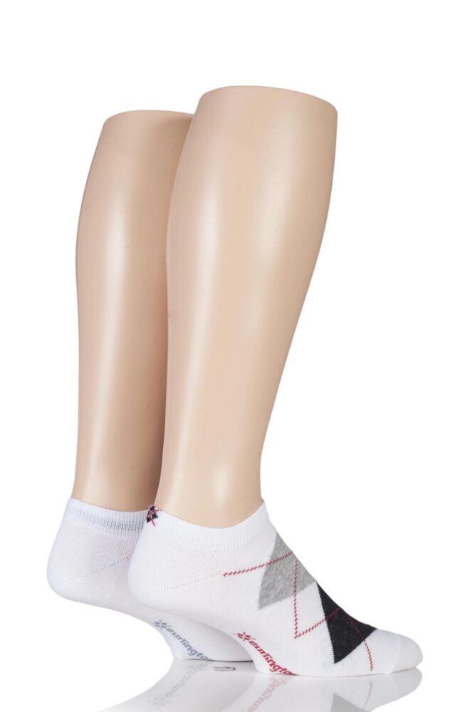 Mens 2 Pair Burlington Everyday Twins Argyle and Plain Cotton Trainer Socks