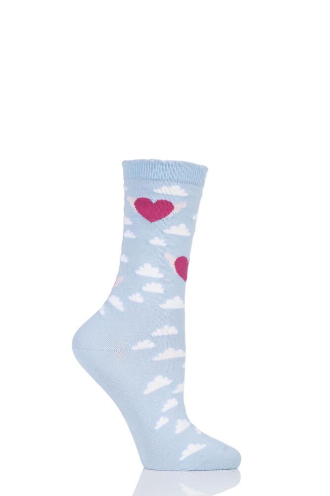Ladies 1 Pair Burlington Cotton Heart Socks In Gift Box