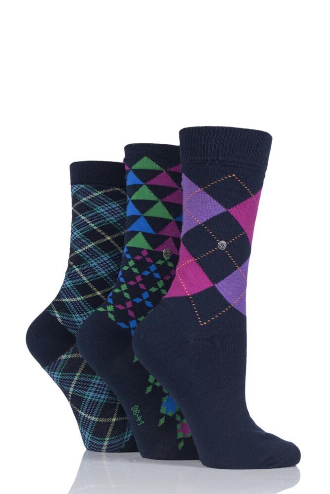 Ladies 3 Pair Burlington Christmas Argyle Mix Cotton Socks In Gift Box