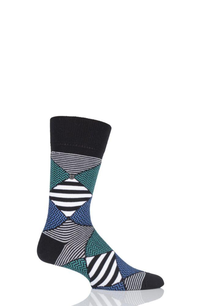 Mens 1 Pair Burlington Pop Art Patterned Argyle Cotton Socks 25% OFF