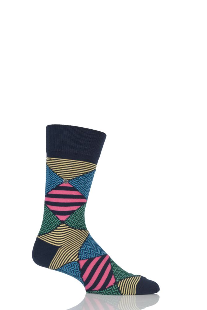 Mens 1 Pair Burlington Pop Art Patterned Argyle Cotton Socks 25% OFF