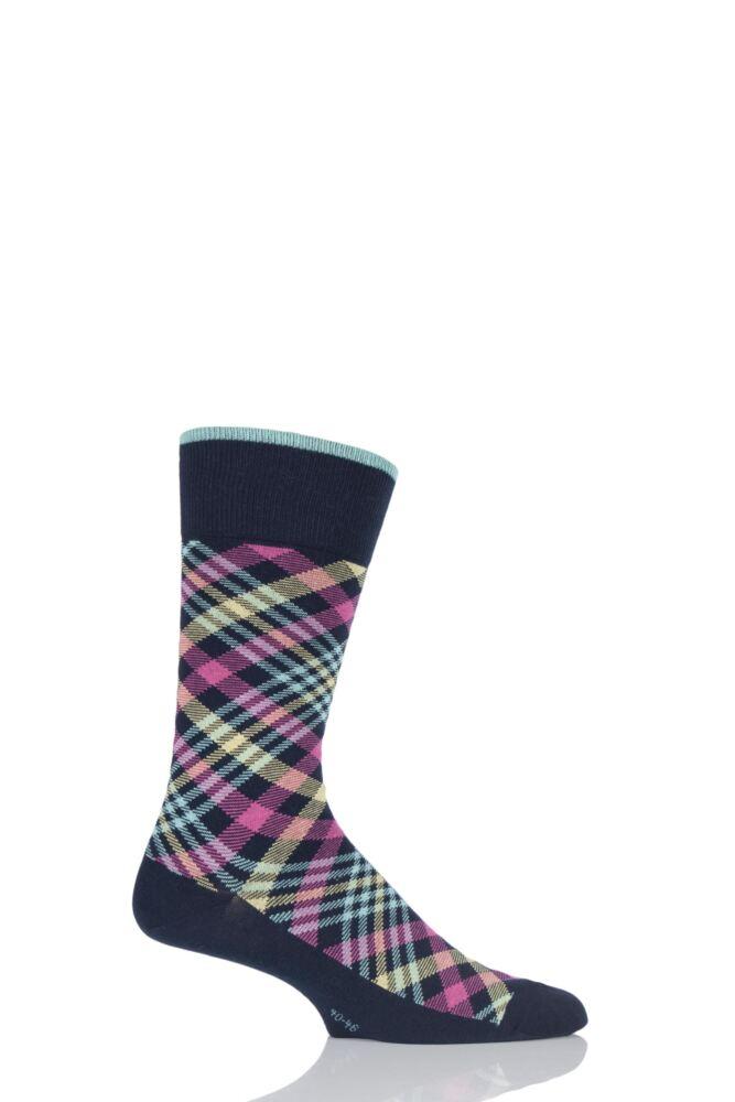 Mens 1 Pair Burlington Bright Check Cotton Socks