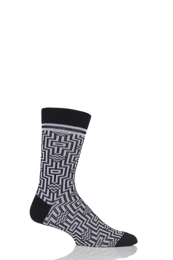 Mens 1 Pair Burlington Illusion Cotton Socks