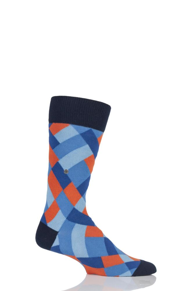 Mens 1 Pair Burlington Geometric Mixed Argyle Socks