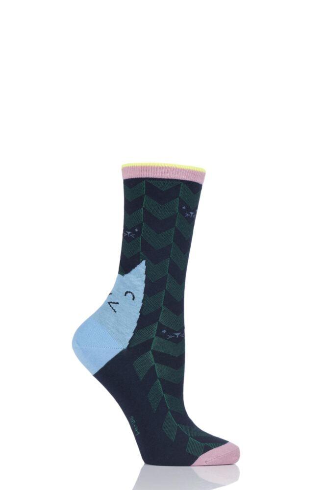 Ladies 1 Pair Burlington Cat Face Cotton Socks