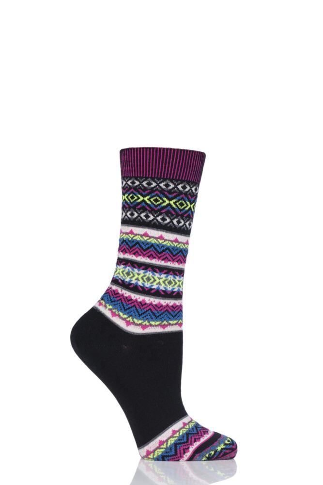 Ladies 1 Pair Burlington Fair Isle Virgin Wool Socks