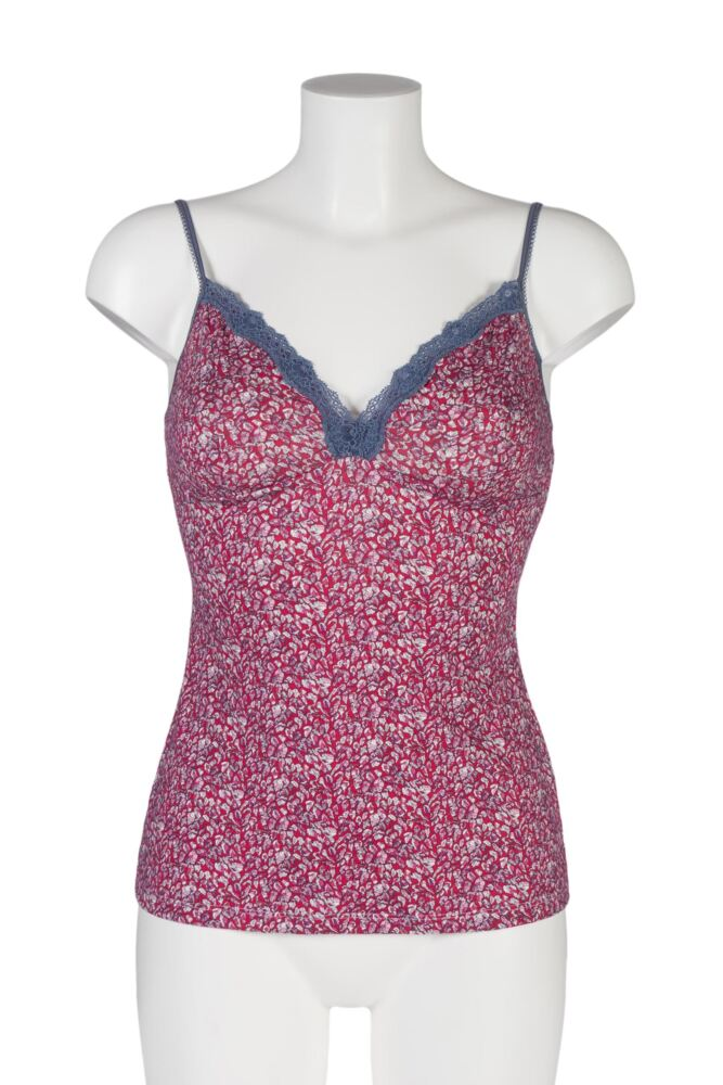 Ladies 1 Pack Kinky Knickers Liberty Print Cami Vest with Lace Trim In Berry