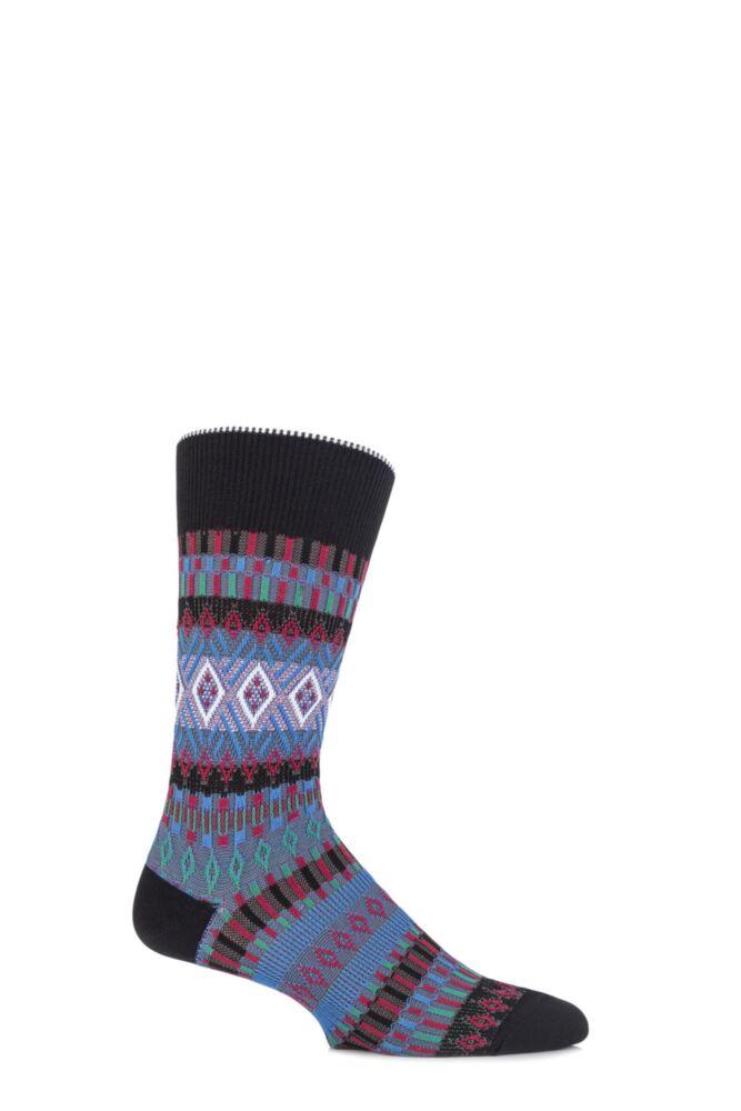 Mens 1 Pair Burlington Cotton Layered Knit Fair Isle Socks