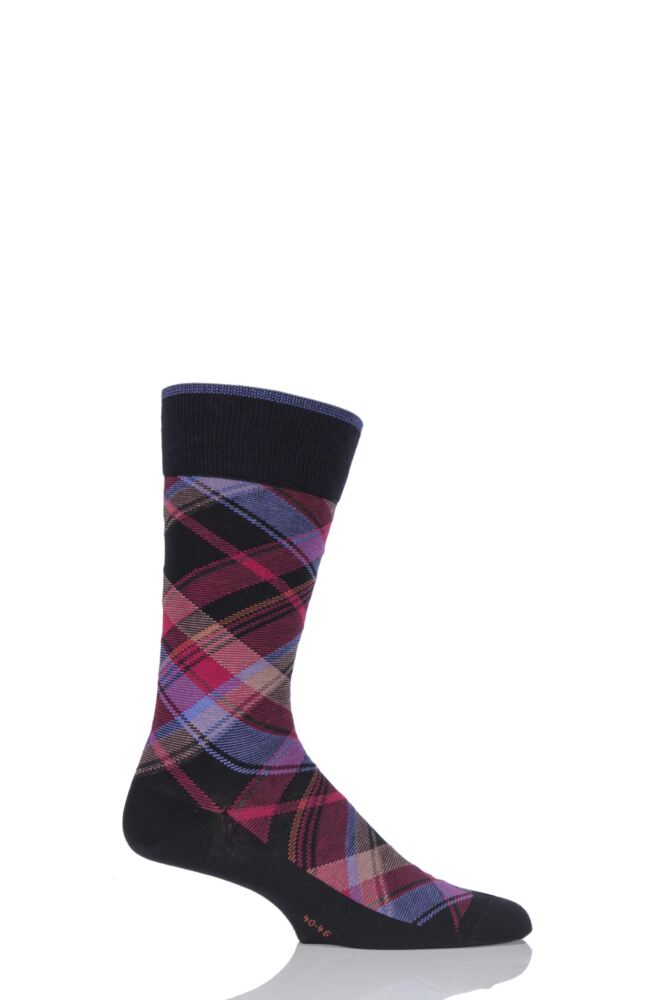 Mens 1 Pair Burlington Urban Check Tartan Cotton Socks