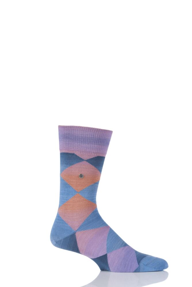 Mens 1 Pair Burlington Painted Yarn Multi Argyle Cotton Socks 25% OFF