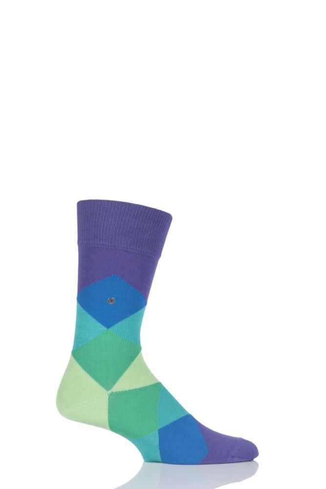 Mens 1 Pair Burlington Clyde Cotton All Over Blend Argyle Socks