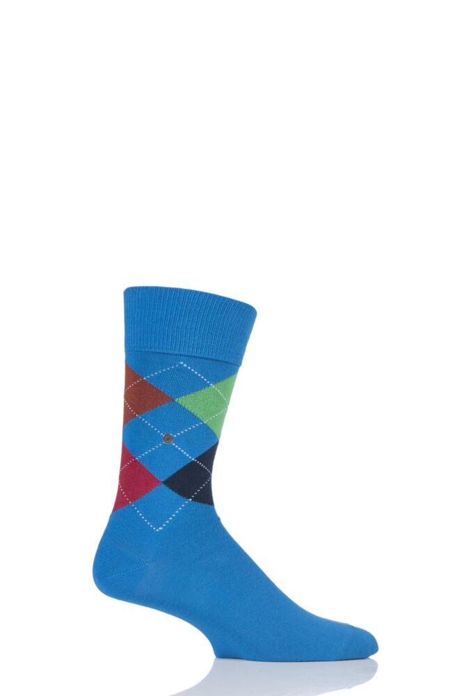 Mens 1 Pair Burlington King 4 Way Argyle Cotton Socks