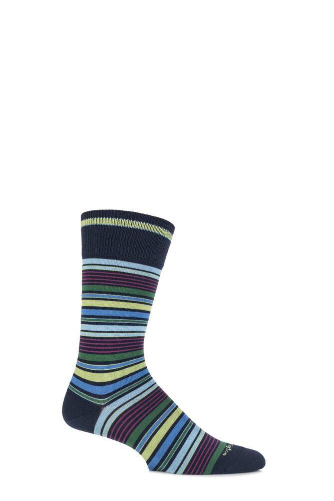 Mens 1 Pair Burlington Bolton Cotton Mixed Striped Socks