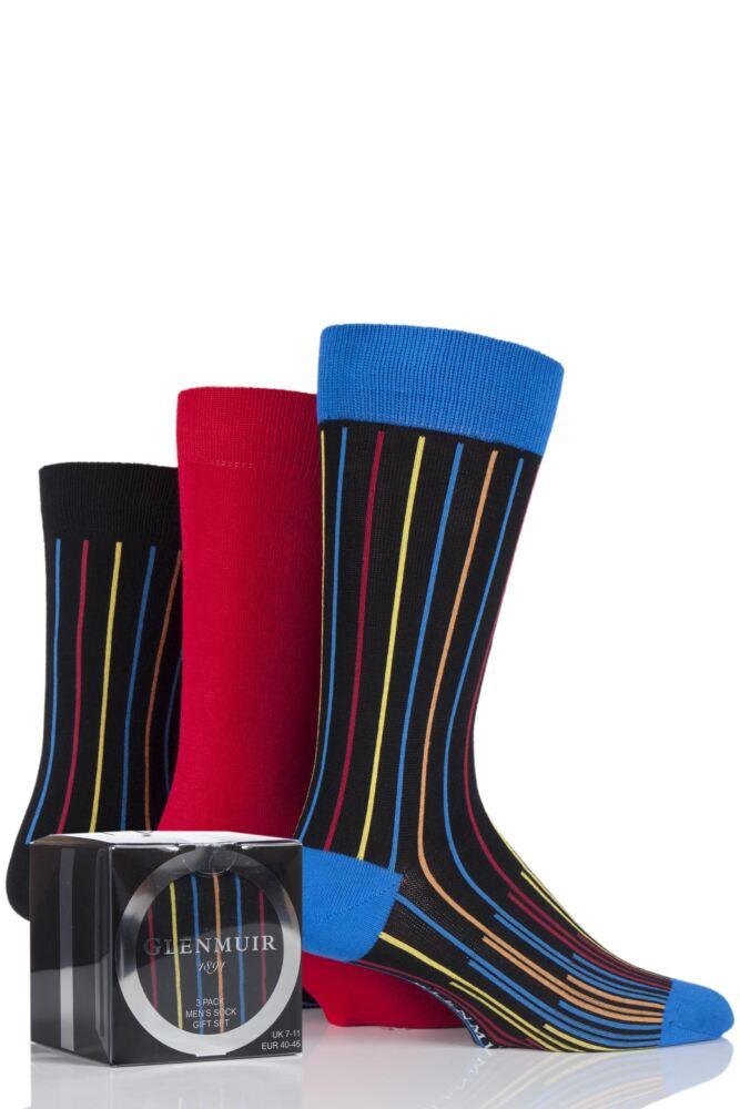 Mens 3 Pair Glenmuir Vertical Stripe and Plain Bamboo Socks Gift Box