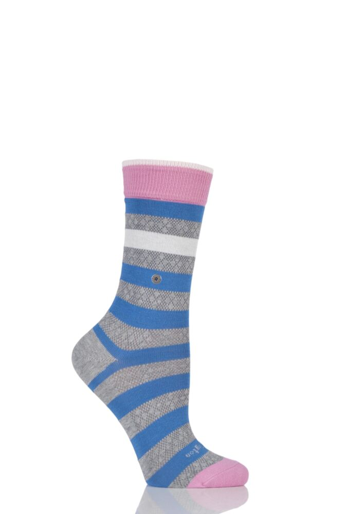 Ladies 1 Pair Burlington Selsey Mixed Striped Cotton Socks