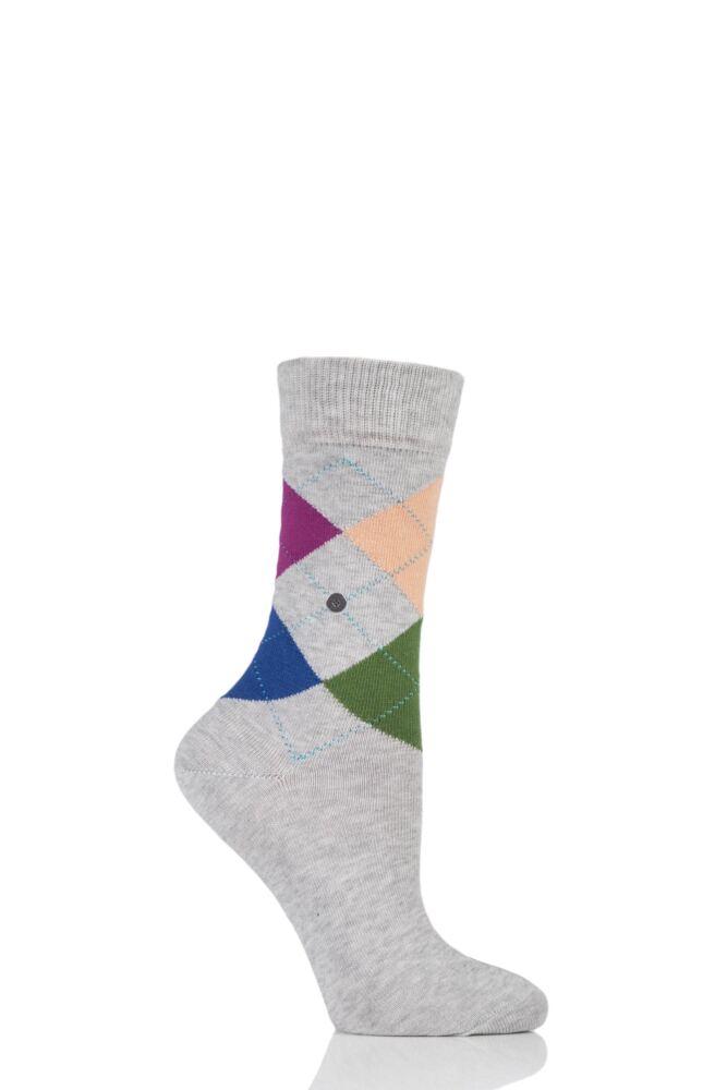 Ladies 1 Pair Burlington Queen 4 Way Argyle Cotton Socks