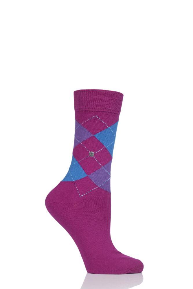 Ladies 1 Pair Burlington Queen Argyle Cotton Socks