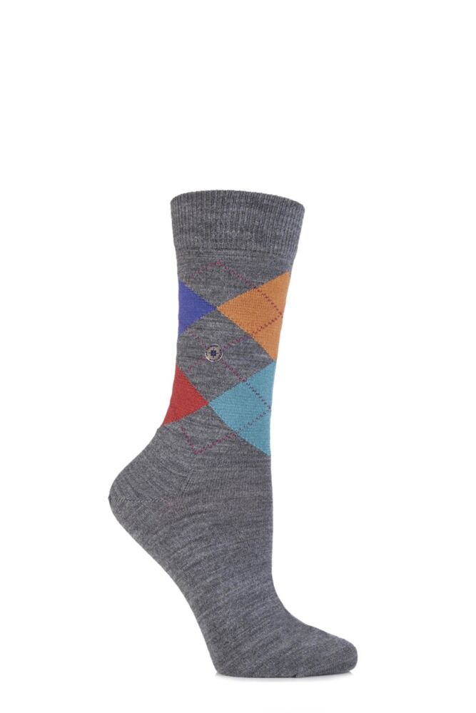Ladies 1 Pair Burlington Marylebone 4 Way Argyle Wool Socks