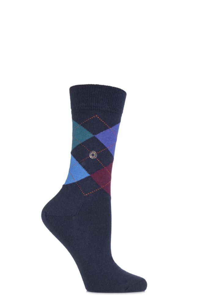 Ladies 1 Pair Burlington Marylebone 4 Way Argyle Wool Socks
