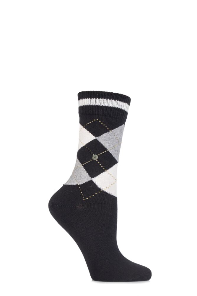 Ladies 1 Pair Burlington Scarborough Cotton Argyle Socks