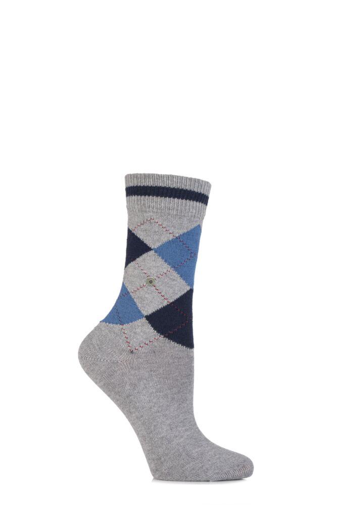 Ladies 1 Pair Burlington Scarborough Cotton Argyle Socks
