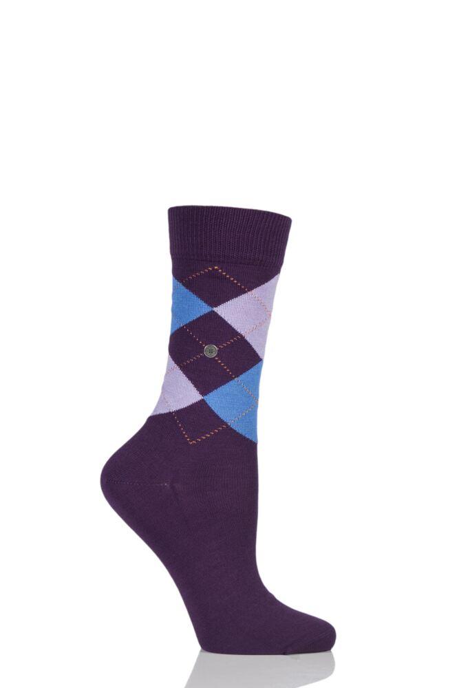 Ladies 1 Pair Burlington Covent Garden Cotton Argyle Socks