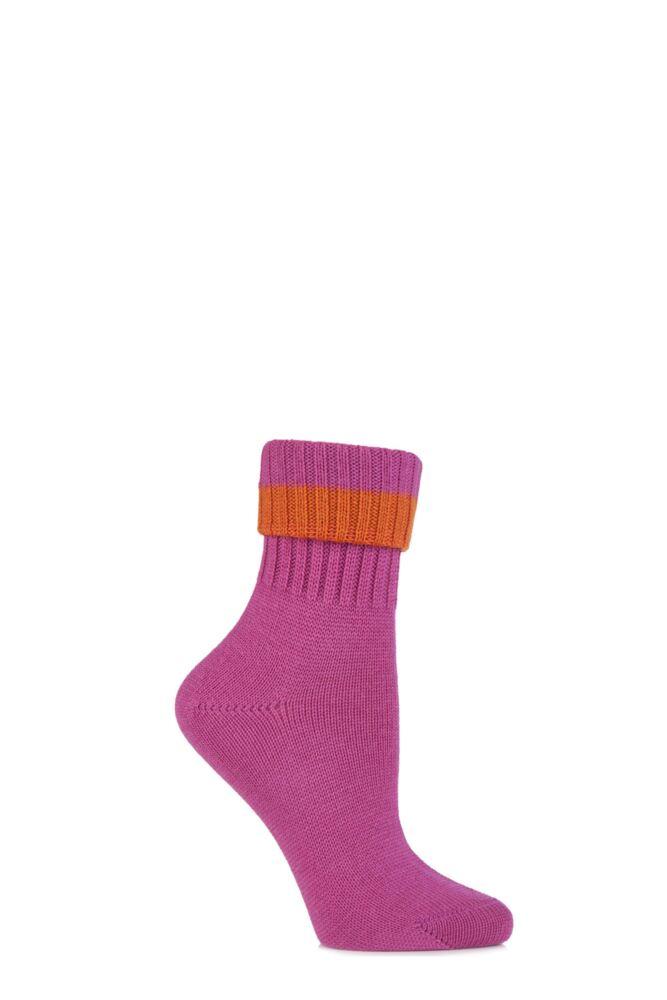 Ladies 1 Pair Burlington Plymouth Virgin Wool Turn Over Top Boot Socks