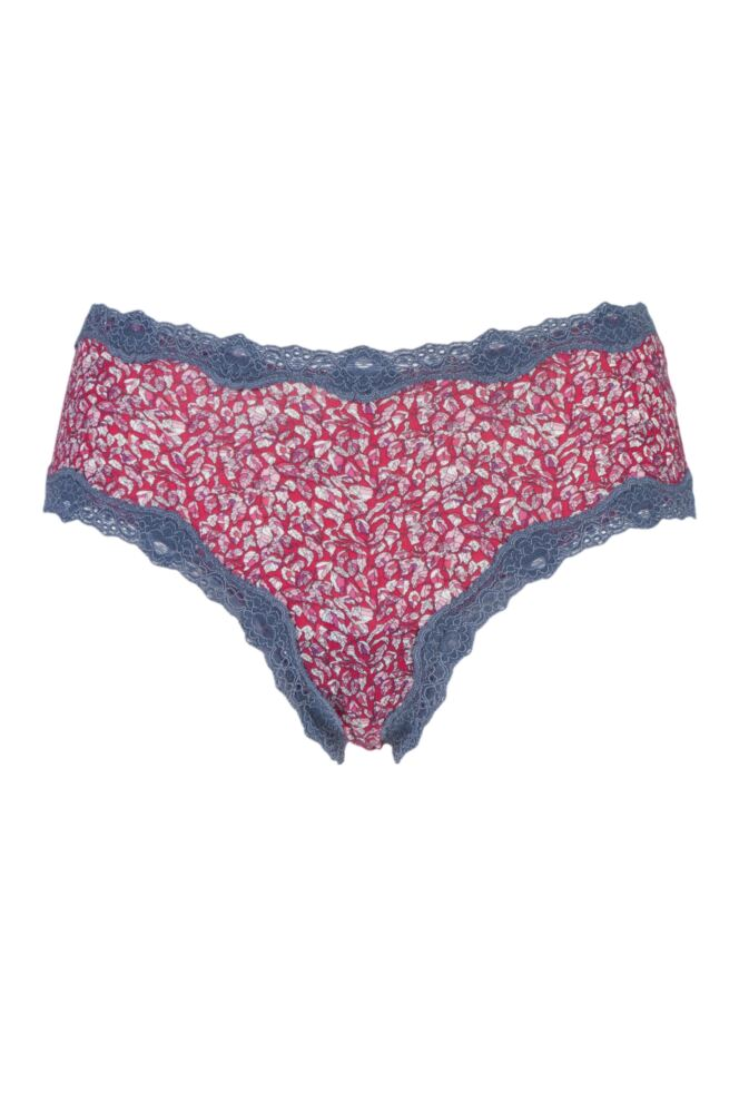 Ladies 1 Pair Kinky Knickers Liberty Print Classic Knickers with Lace Trim In Berry