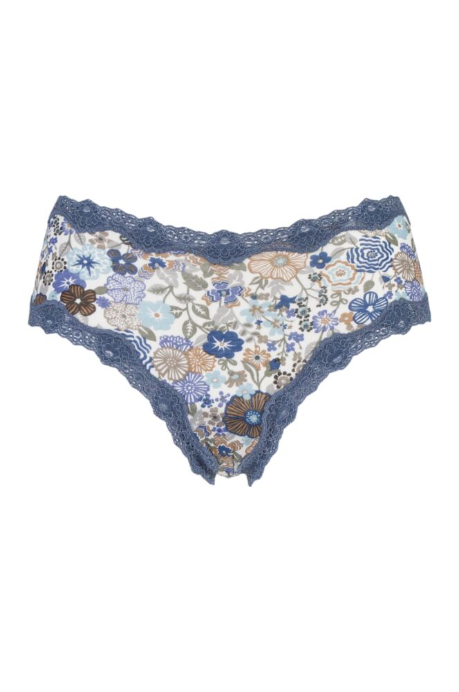 Ladies 1 Pair Kinky Knickers Liberty Print Classic Knickers with Lace Trim In Bohemian Blues