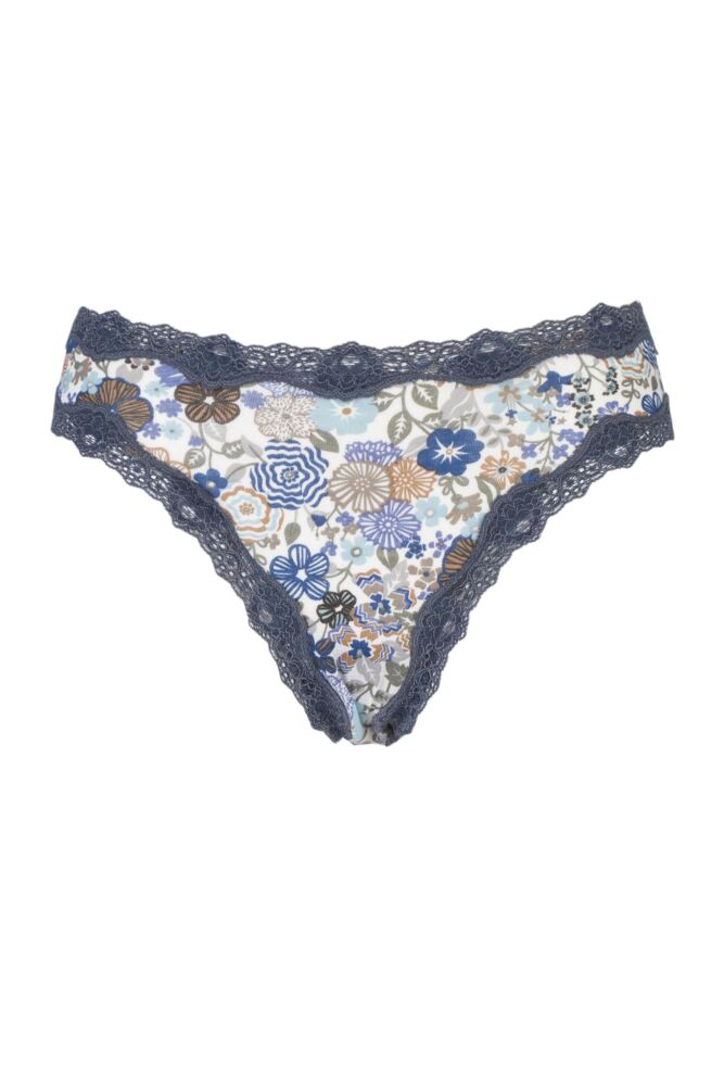 Ladies 1 Pair Kinky Knickers Liberty Print High Rise Knicker with Lace Trim In Bohemian Blues