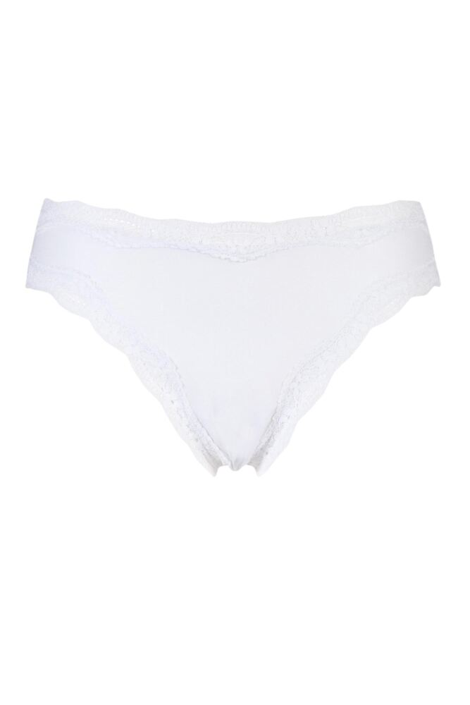 Ladies 1 Pair Kinky Knickers Simply Plain High Rise Knicker with Nottingham Lace Trim In White