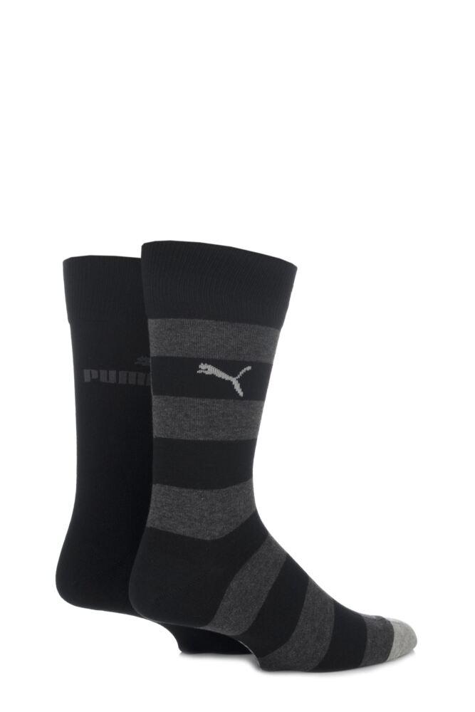 Mens 2 Pair Puma Juxta Wide Stripe Crew Socks