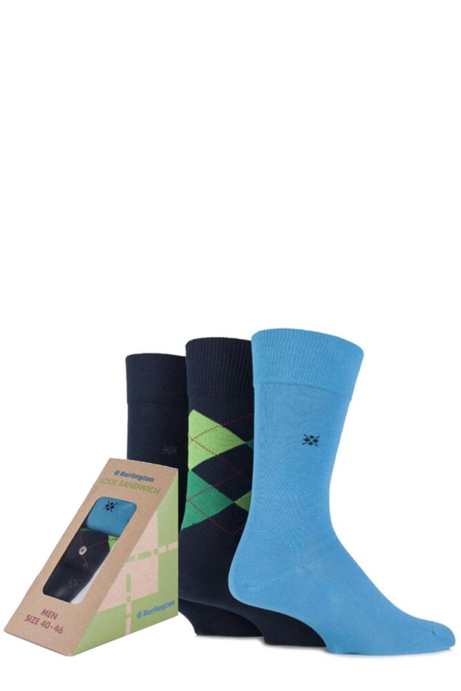 Mens 3 Pair Burlington Sandwich Gift Boxed Argyle and Plain Feet Food Socks