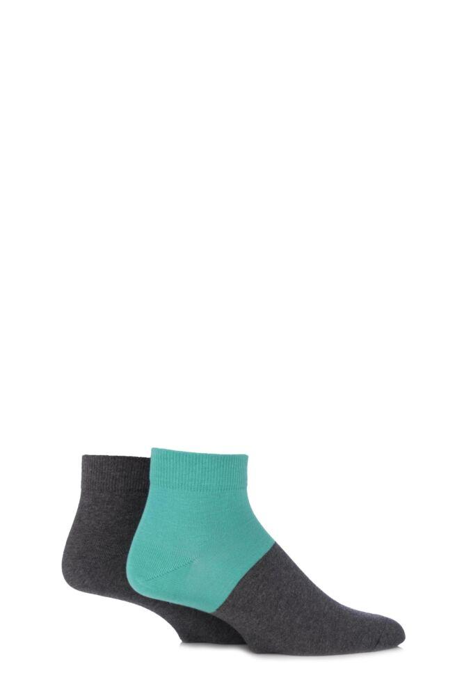 Mens 2 Pair Puma Colour Block Quarter Socks