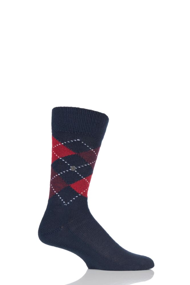Mens 1 Pair Burlington Preston Extra Soft Feeling Argyle Socks