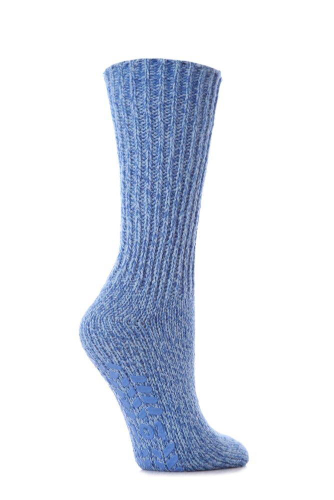 Ladies 1 Pair Totes Natural Wool Marl Tweed Rib Socks