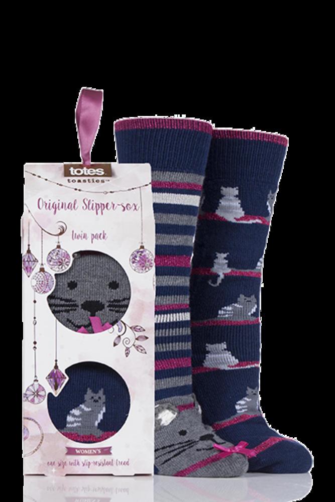 Totes Original Christmas Novelty Slipper Socks Cat
