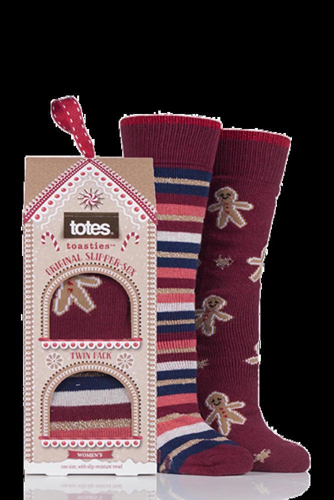 Totes Original Christmas Novelty Slipper Socks Gingerbread
