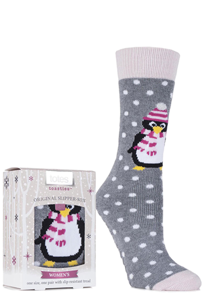 Totes Novelty Penguin Slipper Socks with Grip Grey