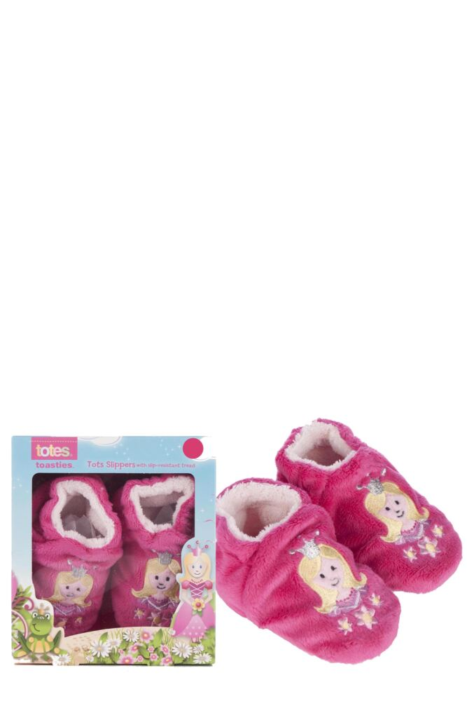 Girls 1 Pair Totes Tots Princess Slippers with Grip