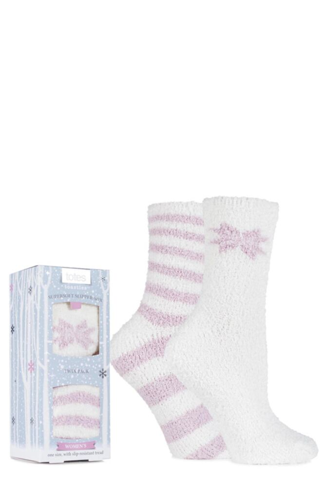 Ladies 2 Pair Totes Super Soft Plain and Striped Bed Socks