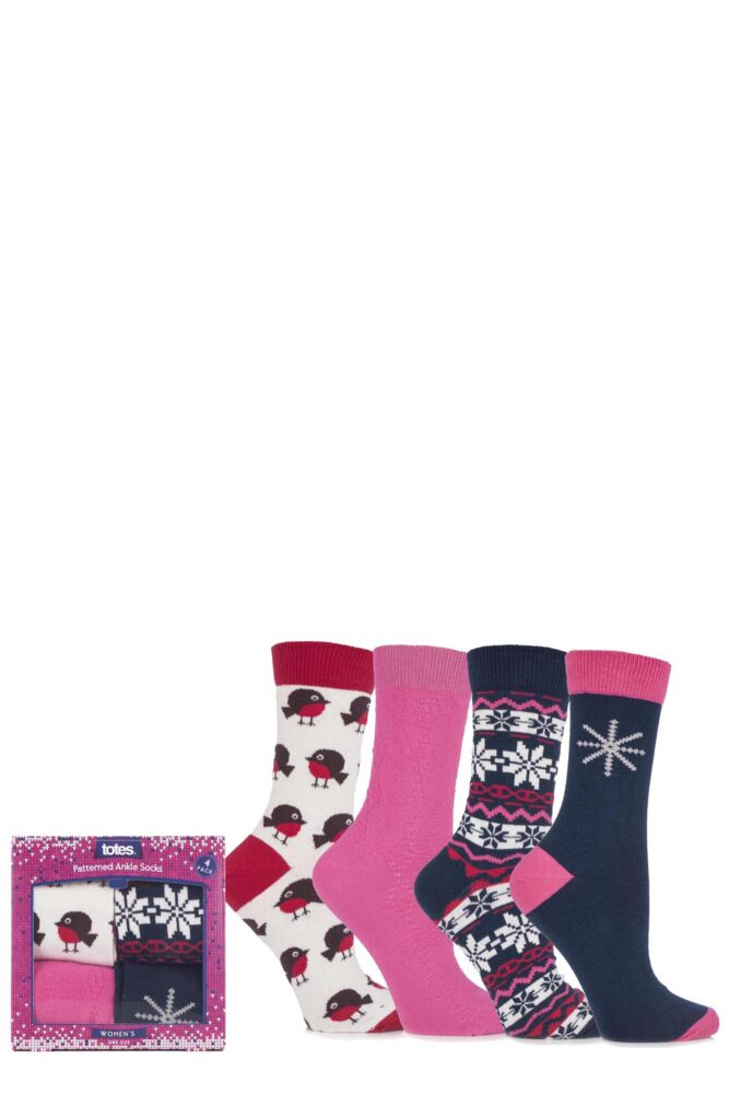 Ladies 4 Pair Totes Robin Fair Isle and Plain Patterned Ankle Socks 25% OFF This Style