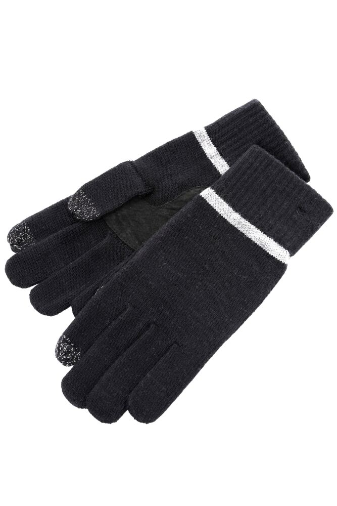 Mens 1 Pair Isotoner Smartouch Plain And Stripe Cuff Knit Gloves 33% OFF