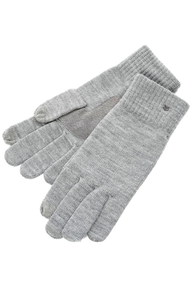 Mens 1 Pair Isotoner Smartouch Plain And Stripe Cuff Knit Gloves