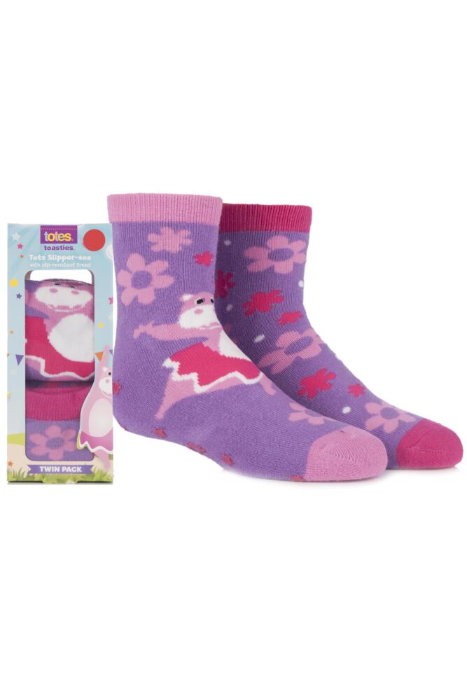 Girls 2 Pair Totes Tots Circus Hippo Slipper Socks with Grip 75% OFF