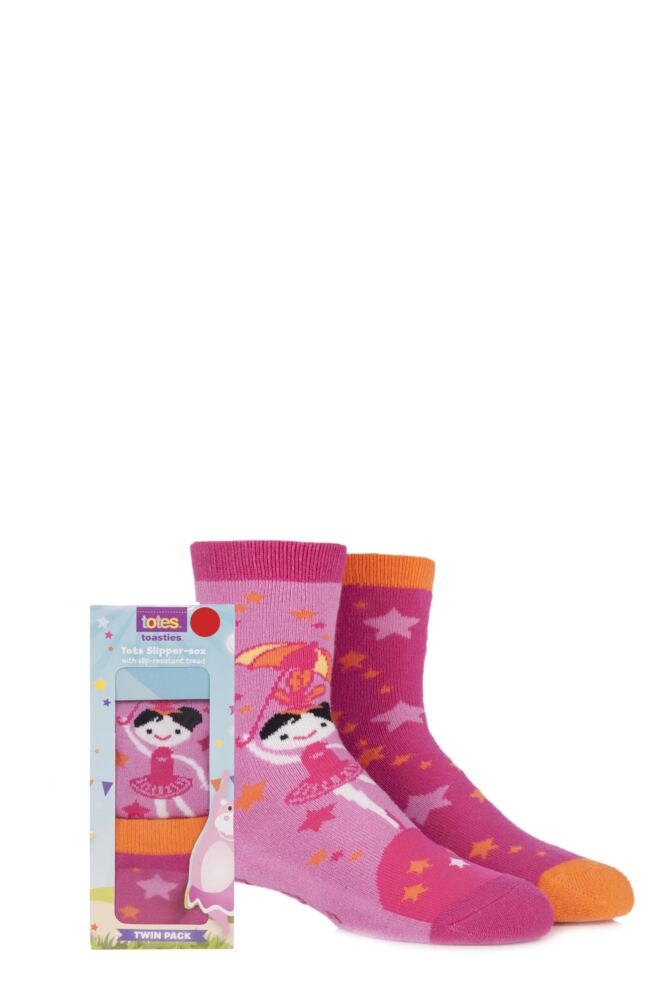 Girls 2 Pair Totes Tots Circus Tightrope Ballerina Slipper Socks with Grip 75% OFF