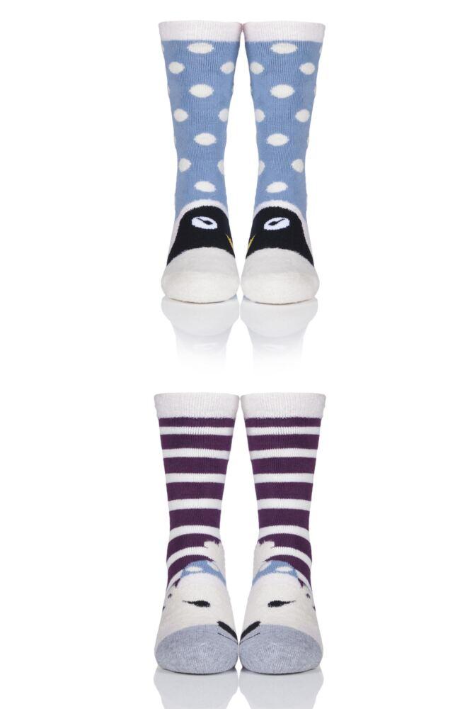 Girls 2 Pair Totes Novelty Penguin and Polar Bear Slipper Socks with Grip