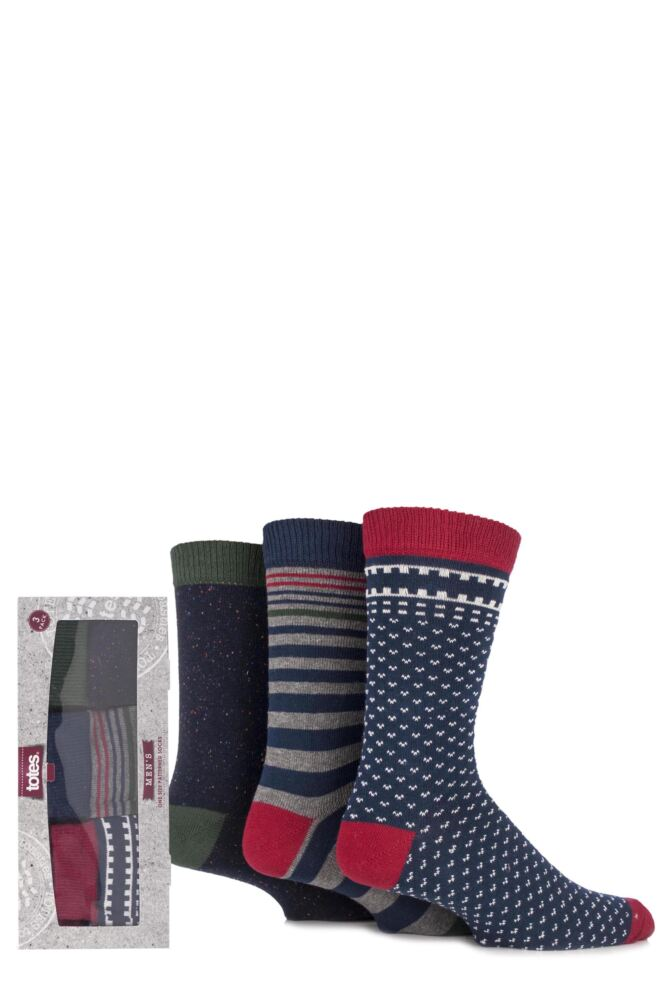 Mens 3 Pair Totes Gift Boxed Striped, Fair Isle and Speckled Patterned Cotton Socks